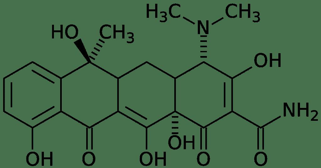 Структурная формула Тетрациклина C22H24N2O8