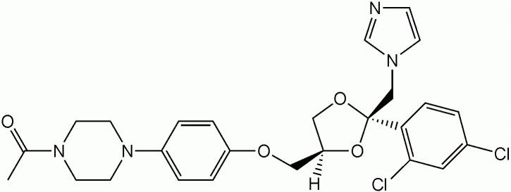 Структурная формула Кетоконазола C26H28Cl2N4O4