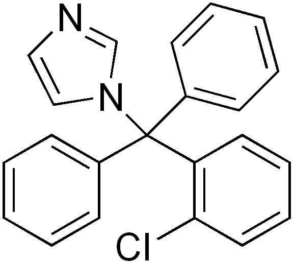 Структурная формула Клотримазола C22H17ClN2