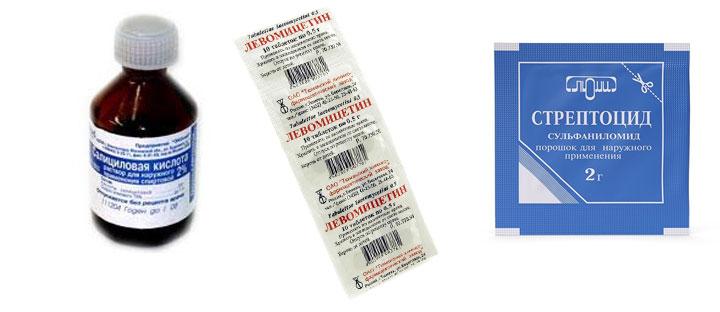 Стрептоцид, Салициловая кислота, Левомицетин