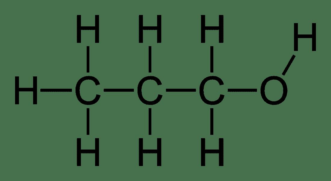Структурная формула Пропанола C3H7OH