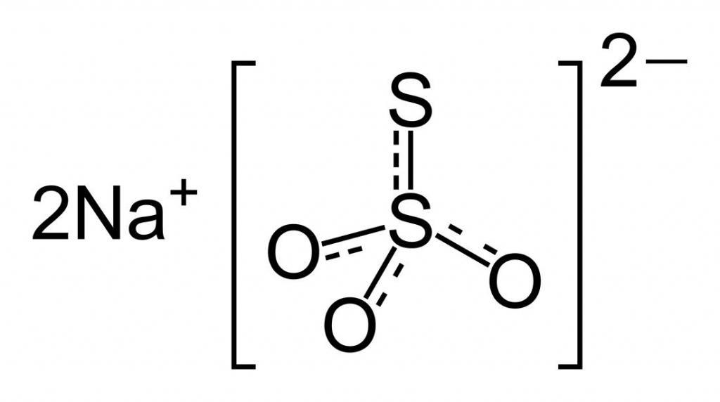 Структурная формула Натрия тиосульфата