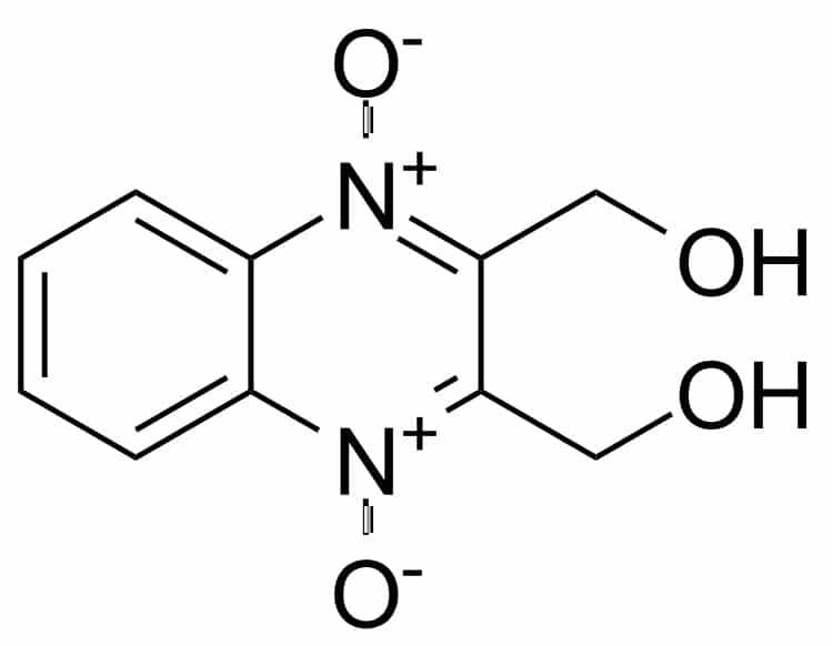 Структурная формула Гидроксиметилхиноксалиндиоксида C10H10N2O4