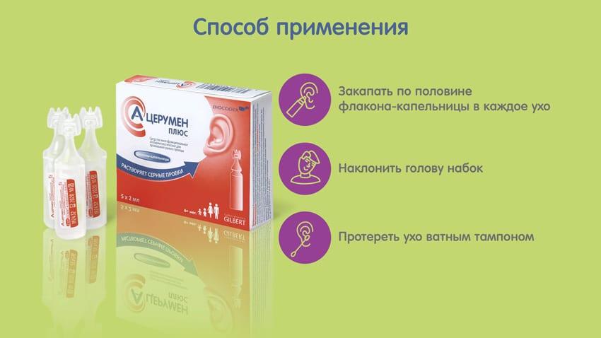 Применение ушных капель А-церумен