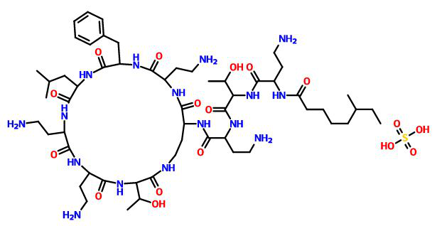 Структурная формула Полимиксина В C56H100N16O17S