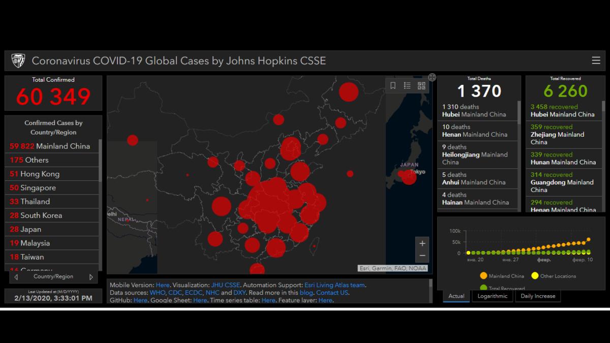 Реальная карта распространения коронавируса