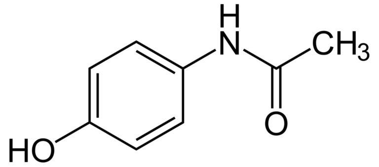 Структурная формула Парацетамола C8H9NO2