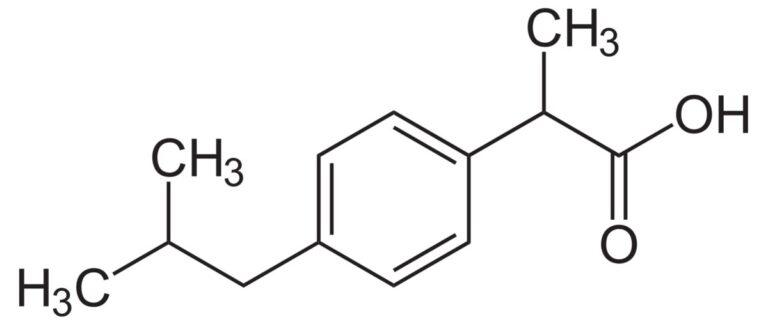 Структурная формула Ибупрофена C13H18O2