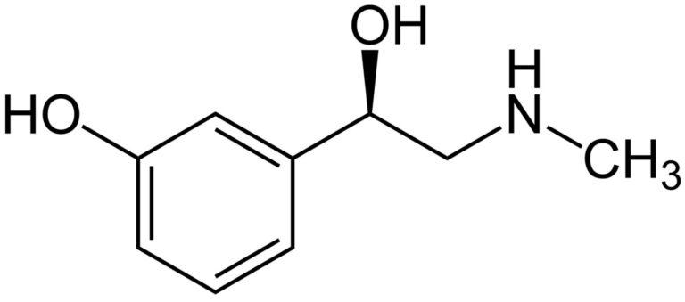 Структурная формула Фенилэфрина C9H13NO2