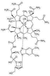 Структурная формула Цианокобаламина, С63H89O14N14PCo